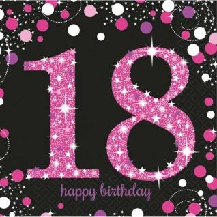 18. Geburtstag Party Motiv Servietten schwarz rosa pink Feier Tisch Deko #0579