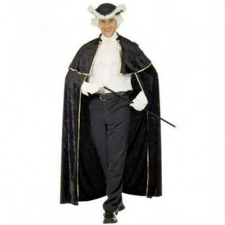 VENIZIANISCHER EDELMANN SAMT UMHANG schwarz Barock Rokoko Party Kostüm 3579