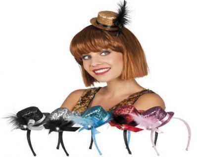 Tiara Glitzer Minihut mit Feder FARBAUSWAHL Party Kostüm Accessoires