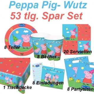 PEPPA PIG Wutz 53 tlg. Spar-Set Kinder Geburtstag - Party Teller Becher Wimpel