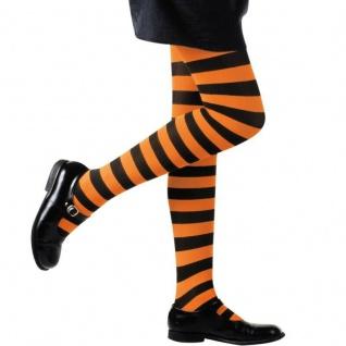 Kinder Ringel Strumpfhose orange Schwarz gestreift 70 DEN Halloween Hexe Kostüm