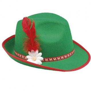 Tiroler Hut Oktoberfest Trachten Hut grün mit Feder Bayernhut #04034