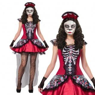 Tag der Toten Novia Damen Kostüm Kleid dia de los muertos Halloween Gr. 34 - 48