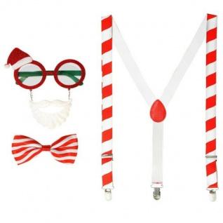 Weihnachtsmann Nikolaus Kostüm Set 3 tlg. - Fliege, Hosenträger, Brille mit Bart