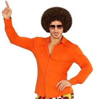 70er Jahre Disco HEMD Herren orange - Kostüm Zubehör Schlager Motto Party S-XXL