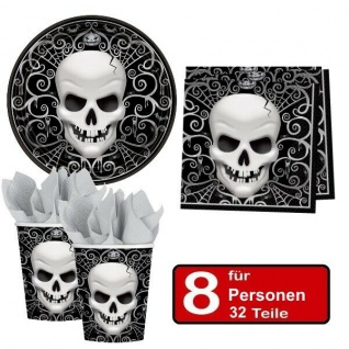 32 tlg. Halloween Party Set TOTENKOPF - Teller Becher Servietten für 8 Personen