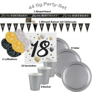 18. Geburtstag 44-tlg. Party Set - Happy Birthday - Teller Becher Servietten