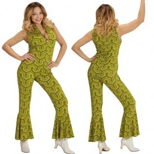 70er Chic Disco Dancing Girl OVERALL Damen Kostüm Hippie Jumpsuit Schlagermove