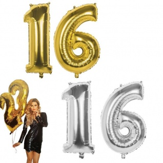 16. Geburtstag XXL FOLIENBALLON Zahl 86cm Gold od. Silber Helium Luftballon