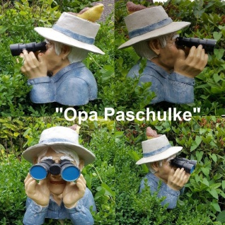 Spanner mit Fernglas Opa Paschulke Garten Deko Figur Jäger mit Hut & Vogel #041