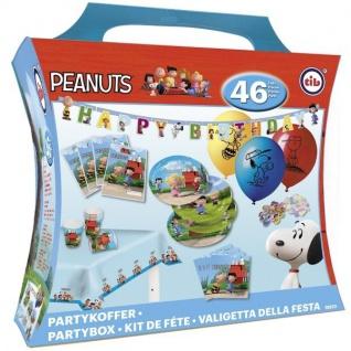 46 tlg. PARTYKOFFER - PEANUTS- Kindergeburtstag Motto Party Deko Charlie Braun