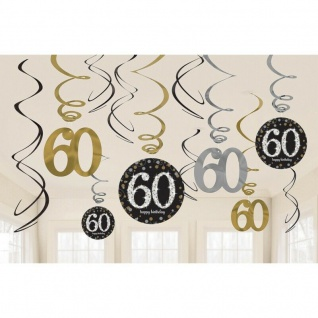 60. Geburtstag Party 12 tlg Swirl Girlanden schwarz Gold Raum Deko Jubiläum 0480