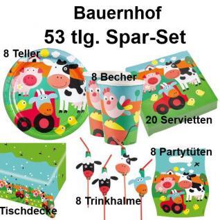 53tlg. Spar-Set BAUERNHOF TIERE Kinder Geburtstag Party Deko Teller Becher #AMS