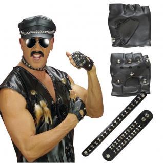 3 tlg. Biker Set Punker Accessoires Rocker Bikerset Kostüm Nieten Schmuck #7126