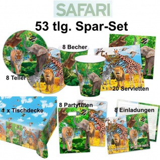 53 tlg. Super Spar-Set SAFARI DSCHUNGEL Kinder Geburtstag Party -Teller Becher