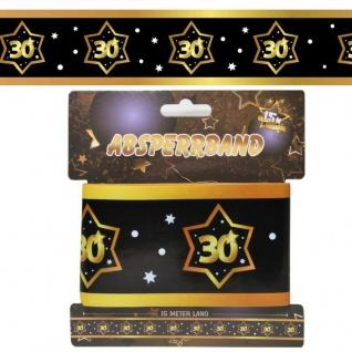 15 m Absperrband 30. Geburtstag Jubiläum schwarz gold Party Deko #3136
