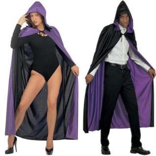Exklusiver Wende Umhang mit Kapuze lila/schwarz Kostüm Venedig Vampir 3577