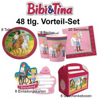 48 tlg. Vorteil-Set BIBI und TINA Kinder Geburtstag Pferde Party Teller Becher