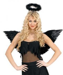 ENGELSFLÜGEL SCHWARZ Flügel zum Kostüm Engel Teufel mit Federn XL 83 x 31 cm