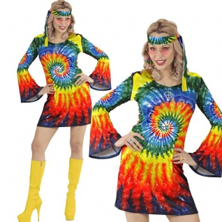 60er 70er HIPPIE GIRL Damen Kostüm M 38/40 Kleid + Stirnband Flower Power #5762
