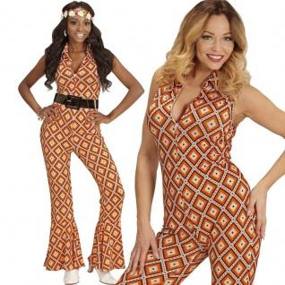 70er Disco Girl Overall mit Schlag 34/36 -S- Damen Kostüm Hippie Jumpsuit #8901