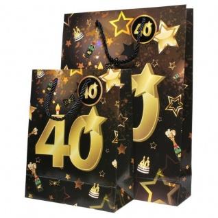 """2 St. Geburtstag Geschenk Taschen Set """" 40"""" Schwarz Gold Tüte Jubiläum Verpackun"""