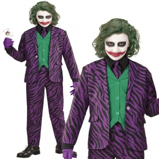 EVIL JOKER Kinder Kostüm Gr. 128 Jacke Weste Hose Krawatte Halloween #9316