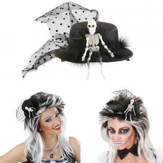 Mini Zylinder mit Skelett schwarz weiß Damen Hut Halloween Kostüm #392N