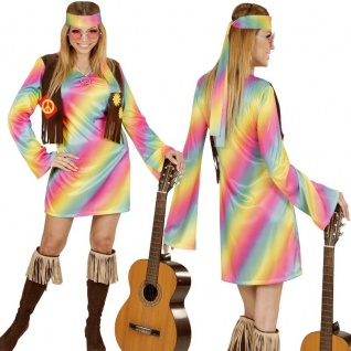 RAINBOW HIPPIE GIRL 34/36 (S) Damen Kostüm Flower Power 70er Woodstock # 3351