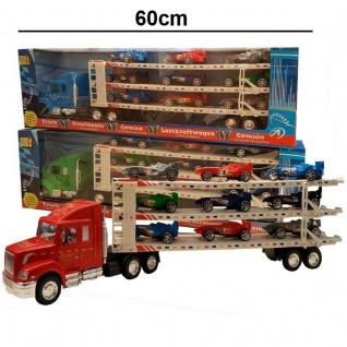 Autotransporter Truck Laster Autos LKW mit 9 RENNAUTOS Spielzeug XXL Transporter - Vorschau