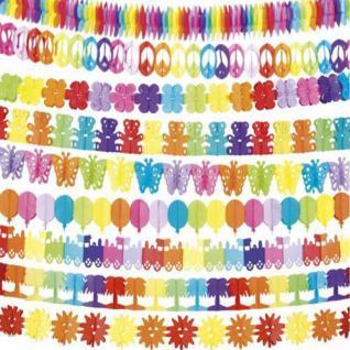 bunte Papier Party Girlande 400 cm, Bär Zug Sonne Palme Peace Klee Ballon Deko