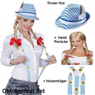 3tlg. OKTOBERFEST Damen Set - Trachten Hut Perücke Hosenträger - Bayern Wiesn