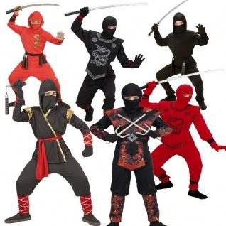 NINJA Jungen Kinder Kostüm Fighter, Black Red Dragon Fire Dragon Samurai Ninjago