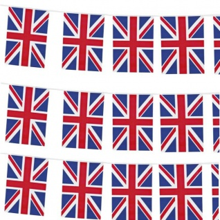 10 m Flaggen Girlande Fahnen Kette Union Jack United Kingdom England Wimpelkette