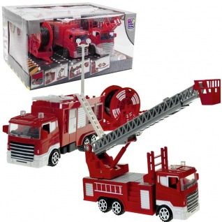 3 tlg. Feuerwehr-Set - 2 Löschfahrzeuge + Schlauchwagen Kinder Spielzeug #4232