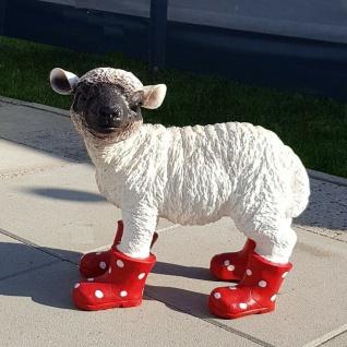 Gartenfigur Lamm mit Gummistiefel Schaf lebensecht Garten Deko Figur rot #3125