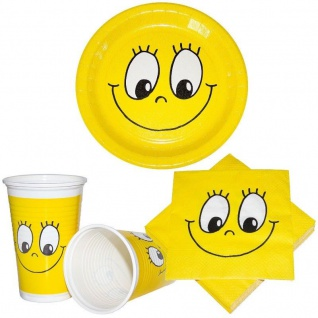Smile - Smily Motiv Party Artikel Tischdeko Teller Becher Servietten gelb