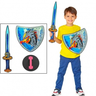 Kinder Wikinger Krieger Set - Drachen Schwert + Schild - Schaumstoff Spielzeug