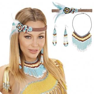 3-teilig Set Indianerin Schmuck - Haarband, Ohrring, Kette - Kostüm Zubehör