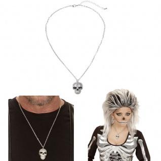 Halskette mit silbernem Totenkopf Halloween Karnvel Kostüm Zubehör 3511