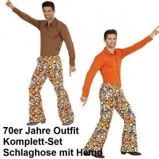 70er Jahre Herren SCHLAGHOSE + HEMD Kostüm Disco Hippie Schlagermove 48-58 bubbl