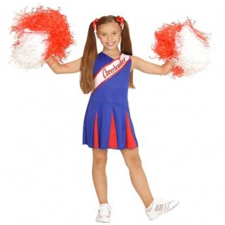 CHEERLEADER KINDER KOSTÜM Mädchen Gr. 140 blau-rot Sport Show Cheer Leader