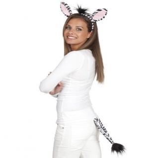 Zebra Set 2tlg. Haarreif und Schwanz - Tier Kostüm-Set NEU