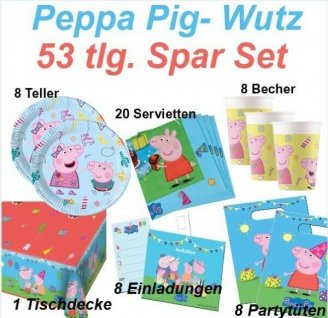 PEPPA PIG Wutz 53 tlg. Spar-Set Kinder Geburtstag - Party Teller Becher Wimpel
