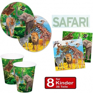 SAFARI Party Set - Teller Becher Servietten - für 8 Kinder Geburtstag #FOL