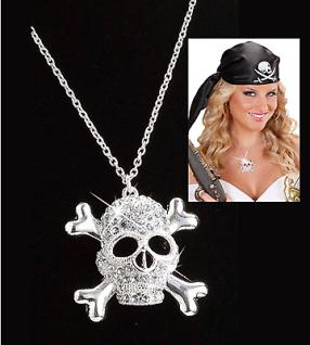 Piraten Braut Schmuck STRASS TOTENKOPF KETTE Piratin Damen Kostüm Zubehör S7515