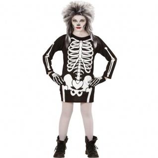 Mädchen SKELETT KOSTÜM Kinder Skelettkostüm Halloween Kleid Gerippe 128, 140, 158