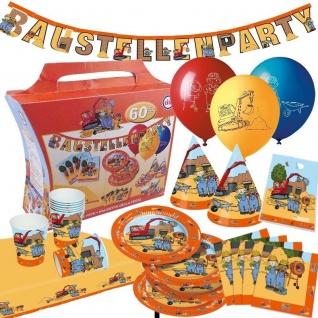 BAUSTELLE 60 teiliger Partykoffer Kinder Geburtstag Party Deko: Teller Becher