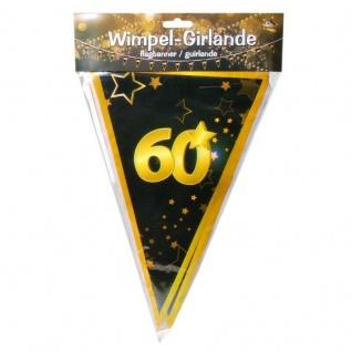 "10 m Wimpel-Girlande "" 60"" Geburtstag Wimpelkette schwarz/gold Party Deko #3087"