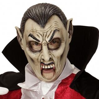 MASKE VAMPIR MIT OFFENEM MUND 3/4 Maske Graf Dracula Halloween Karneval 00420